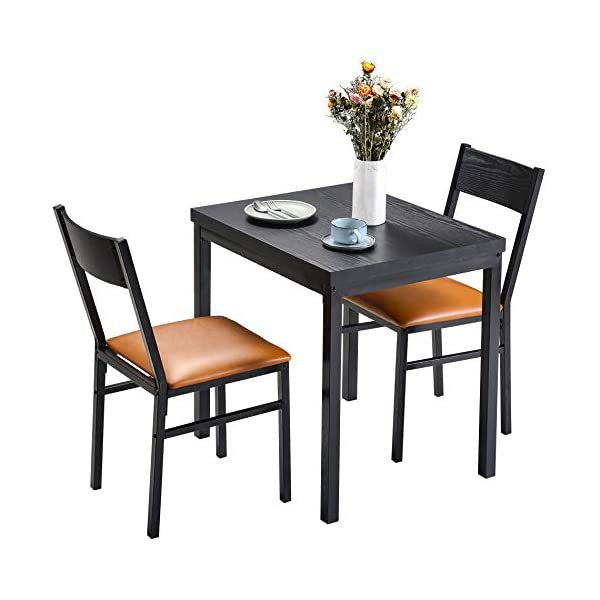 HOMURY 3 Piece Dining Table Set with Cushioned Chairs, Modern Counter Height Dinette...