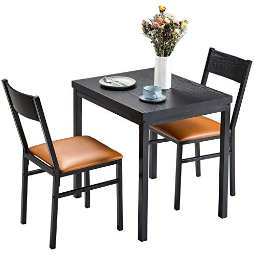 HOMURY 3 Piece Dining Table Set with Cushioned Chairs, Modern Counter Height Dinette Set