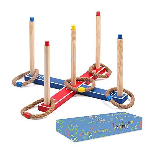Mookis Ringwurfspiel Kinderspiele drinnen oder draußen-Ringwurfspiel aus Holz mit 5 Wurfringen lustiges Rasenspiel für Kinder und Erwachsene
