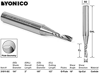 Yonico 31011-SC 1/8-Inch Dia. O Flute Upcut Spiral End Mill CNC Router Bit 1/4-Inch Shank