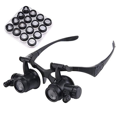 CLJ-LJ Gafas montadas en la cabeza Lupa HD de alto mantenimiento reloj grabado bordado lectura 20 x 25X portátil