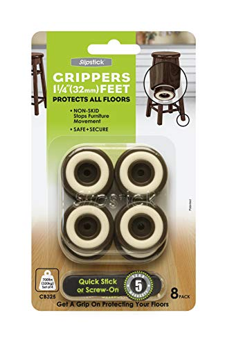 Slipstick CB325 Non Slip Furniture Feet Floor Protectors with Rubber Grip Set of 8 Grippers 11/4 Inch Round  Chocolate Brown