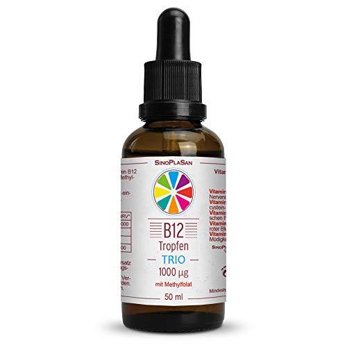 Vitamin B12 Tropfen TRIO 1000µg mit aktiver Folsäure (Methylfolat (5-MTHF)) || 50 ml || OHNE ALKOHOL || vegan || aktive B12 Formen Methylcobalamin & Adenosylcobalamin || SinoPlaSan