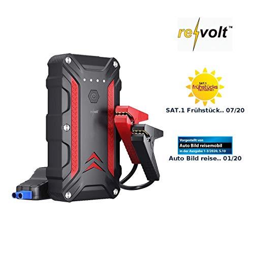 REVOLT Powerbank Auto: Powerbank & Kfz-Starthilfe, QC 3.0, USB Typ C PD, 12 Ah, 1.200 A, IP68 (Auto Starthilfe)
