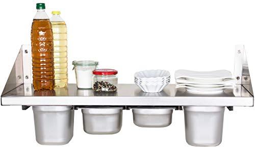 Beeketal 'BGR-80' Gastro Küchen Wandregal 80 cm aus Edelstahl mit 4 GN Behälter Schubeinsätzen, Regal Tragkraft ca. 35 kg, Küchenregal inkl. 4 x (GN) 1/6 Behälter und Wandmontagematerial