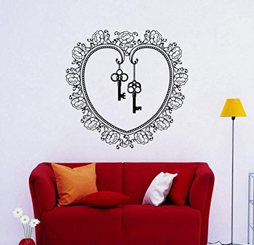 Extraíble Flor Llave Corazón Diseño Pegatinas De Pared Decoración Del Dormitorio Tatuajes De Pared Póster Murales Vinilo Decoración Del Hogar Sala De Estar 57X57Cm