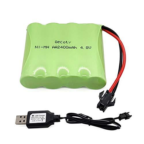 Gecoty® 4,8V 2400mAh NiMH RC Akku Wiederaufladbare Batterien AA mit SM 2P-Stecker für ferngesteuertes Spielzeug, Elektrowerkzeuge, Haushaltsgeräte