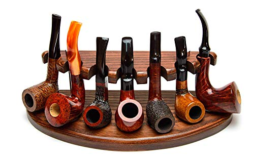 Universal Wooden Tobacco Pipe Stand Rack Display Holder for 7 Smoking Pipes from Solid Ash Wood Handmade
