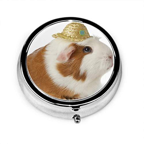 Preisvergleich Produktbild Pille Organizer Fall,  süße Dame Meerschweinchen Hut auf tragbare Pille Box für Geldbörse oder Tasche,  Runde Pille Box