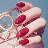 Fstrend 24Pcs Red False Nails Glossy Full Cover Medium Ballerina Natural Long Oval Round Almond Stiletto Glam Acrylic False Nails Fashion Party Clip on Nails for Women and Girls