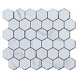 BeNice Adhesivo para azulejos de pared con diseño de mosaico, diseño hexagonal, para cocina, salón, bricolaje, adhesivos para azulejos de pared, resistentes al agua (5 hojas, color blanco)