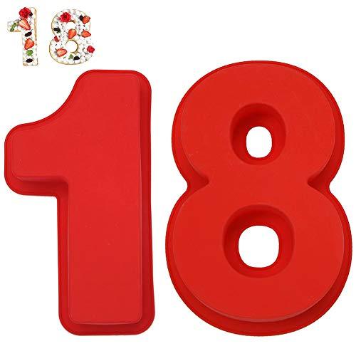 FANDE Silikon Backform, 2PCS Zahlenkuchenform Zahlen Set 18 Kuchenform Silikon Zahlen für geschichtete Zuckerguss Creme Obst Kuchen Hochzeit Geburtstag Party Dekoration (10 Zoll)