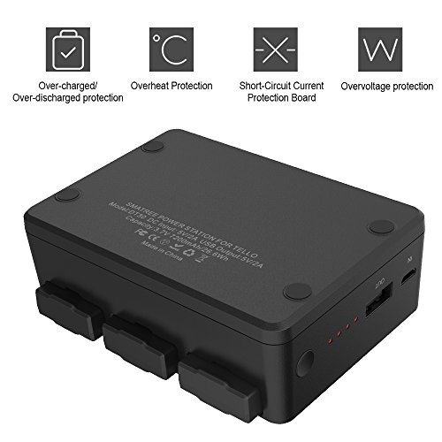 Smatree Portable Charging Station Compatible with DJI Tello Battery, Simultaneously Charge 3 Batteries