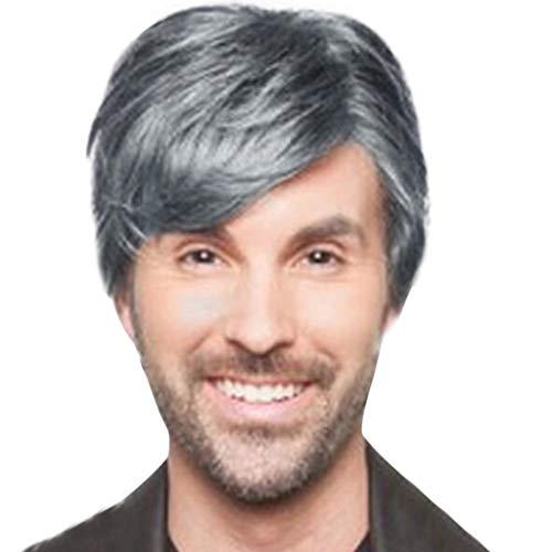 Vovotrade Perruque Hommes Courts Beau Argent Explosions Cheveux Courts Europe et Amérique Perruques Fibre Chimique Perruque Mature Charme 8cm Perruque (Grey)