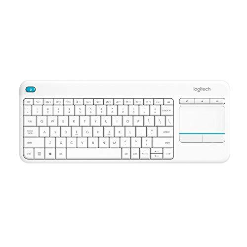 Logitech K400 Plus Teclado Inalámbrico con Touchpad para Televisores, Disposición QWERTZ Alemán, Blanco