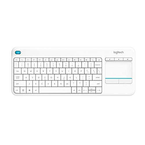Logitech K400 (Versión extranjera) Plus Teclado Inalámbrico con Touchpad para Televisores Conectados a PC, Teclas Especiales Multi-Media, Windows, Android, Ordenador/Tablet, QWERTZ Alemán, Blanco