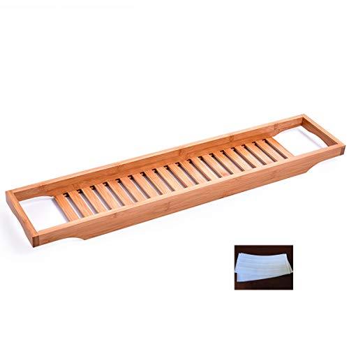 HAOXUAN Bambus-Badewannenablage Multifunktionale Badewanne Caddy Bridge Mit Griff Und Rutschfestem Streifen Caddy-Wannenhalter Für Spa-Erlebnisse Für Die Meisten Badewannengrößen