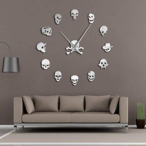 Xixigz Wanduhr, moderne DIY-Acryl-Spiegel-Wanduhr, DIY, große Wanduhr, Totenkopf, Horror-Wanduhr, H