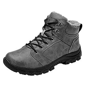 Botas de Nieve Hombre Impermeable Botas de Nieve Cálido Fur Forro Sneakers Zapatos Invierno Gris 44