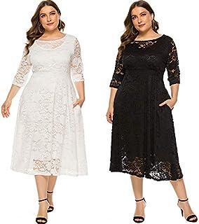 Extaum New Fashion Women Plus Size Dress Crochet Lace Hollow Out O-neck Half Sleeve Party Slim Dress Black/White