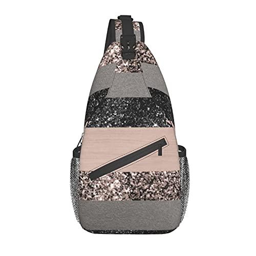 Unisex Sling Bag Daypack Bolso de hombro Mochila Crossbody Paquete Blush Glitter Glam Rayas Brillante Decoración Arte Para Viajes Senderismo Gimnasio Al Aire Libre Uso Diario
