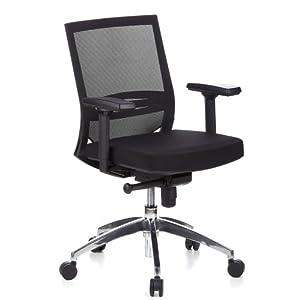 hjh OFFICE 657235 silla escritorio PORTO PRO tela / malla negro silla ergonomica con brazos soporte lumbar