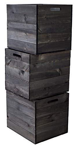 3er Set Holzkiste Aufbewahrungskiste Schubladenbox passend für alle Kallaxregale und Expidit Regale Kallaxysteme Weinkiste Obstkiste Regalkiste Maße 33x37,5x32,5cm Kallax boxen (3er set schwarz)