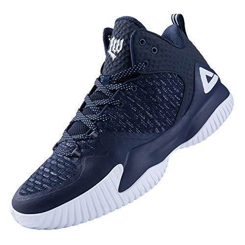 PEAK High Top Mens Basketball Shoes Lou Williams Streetball Master Breathable Non Slip Outdoor Sneakers Cushioning Workout Shoes for Fitness Navy Blue