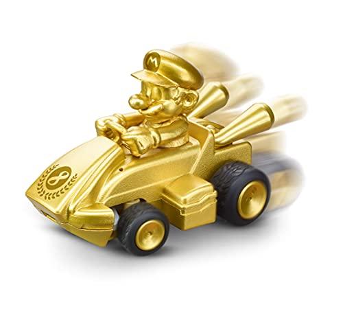 Carrera Mini RC Nintendo Mario Kart mit Gold Mario I Ferngesteuertes Auto ab 6 Jahren für drinnen & draußen I Mini Mario Kart Auto mit Fernbedienung zum Mitnehmen I Spielzeug für Kinder & Erwachsene
