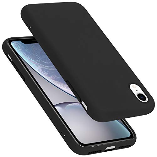 Cadorabo Custodia per Apple iPhone XR in LIQUID NERO - Morbida Cover Protettiva Sottile di Silicone TPU con Bordo Protezione - Ultra Slim Case Antiurto Gel Back Bumper Guscio