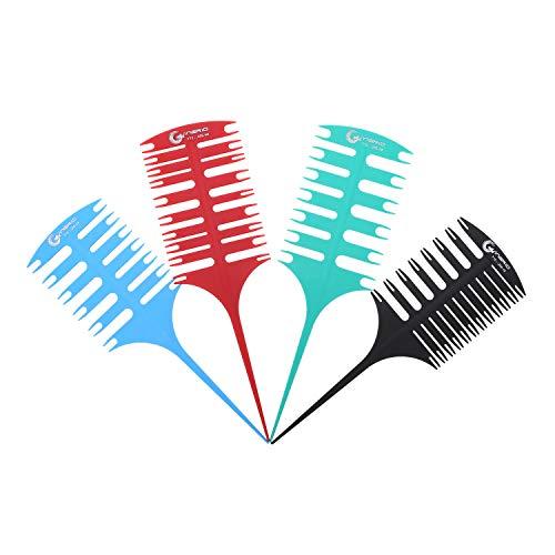 Anself 4 unids/set pelo destacado seccionamiento peine para colorear el cabello destacado tejer seccionamiento 2 vías tinte pelo herramienta de peinado para uso salón