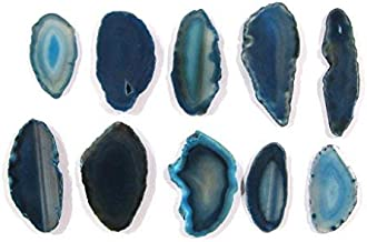 Zentron Crystal Collection: Set of 12 Teal Polished Light Table Agate Slices in Velvet Bag