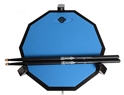 Tromme Drum Practice Pad & Carrying Case 12 Inches Two-Sided Silicone Wooden Base with Real Drum Feel Practice Quietly -Sticks and Stand NOT INCLUDED (Blue)