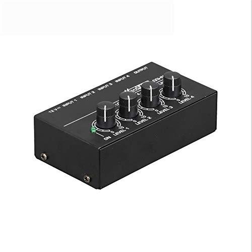 DGKNJ Portable Audio Mixer Metall Professionelle Mixer 4-Kanal Power Mixer MX400 Line-Audio-Mixer Signal Mixer Kleine Mixer Unterstützungs-USB/SD-Karte für den Profi- und Anfänger