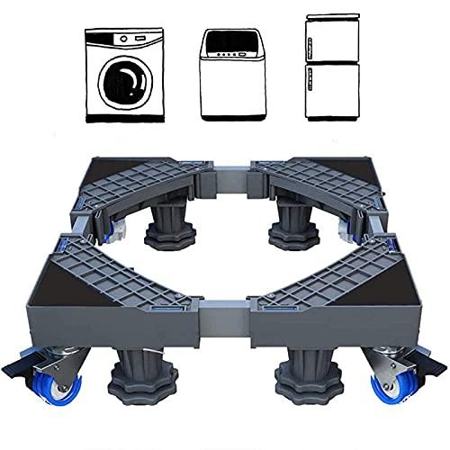 Base lavadora Móvil Ajustable 41~64cm Altura 9-12 cm Soporte para Lavadora Multifuncional con 4 Ruedas Giratorias Dobles de Goma Soporte para Lavadora, Secadora y Refrigerador,360°Giración