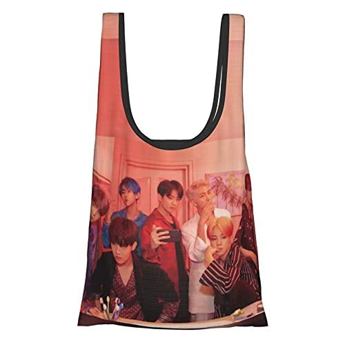 Bts & Lindo bolso de la compra, bolsa de regalo, bolsa de mano, reutilizable, plegable, respetuoso con el medio ambiente, impermeable y resistente al desgarro