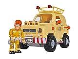 Simba 109251072 - Feuerwehrmann Sam 4x4 Geländewagen, mit Sam Figur, mit Licht und Türen zum Öffnen, schwimmt auf dem Wasser, 15cm, für Kinder ab 3 Jahren