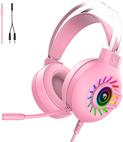 Gaming Headset PS4 Headset 3 5mm Stereo Wired Over Head Gaming Headphone RGB Rainbow Backlit product image