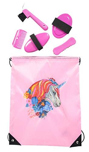 PFIFF, 102790, poetsset, poetszak, poetstas, gevuld, paardenpoetsset paardenverzorging, roze