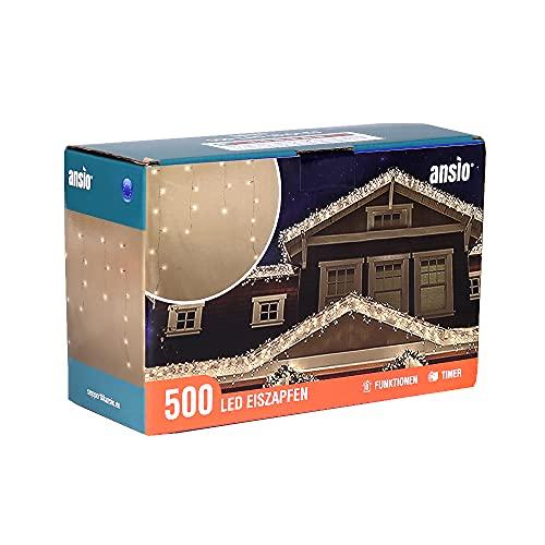 Lichterkette Außen 500 LED 17m/56ft Eisregen Lichterkette Aussen Weihnachten mit timer Outdoor Eiszapfen Strom Weihnachten Deko/Hochzeiten/Party Warm Weiß - Klare Kabel