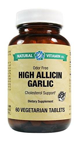 Natural Vitamin Co. - High Allicin Garlic, Garlic 500mg, Minimum 5mg Allicin, 60 Tablets, 2 Month Supply, Odor Free, Gluten Free, Vegetarian, Vegan
