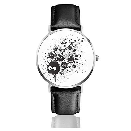 Unisex Business Casual My Neighbor Totoro Susuwatari Ink Watches Quarz Leder Armbanduhr mit schwarzem Lederband für Männer und Frauen Young Collection Geschenk