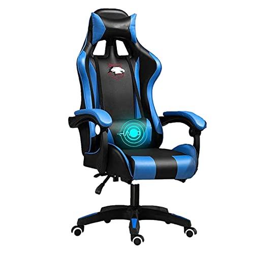 Chaise de bureau ergonomique pour gamer sur Internet, café, course sur Internet, bleu