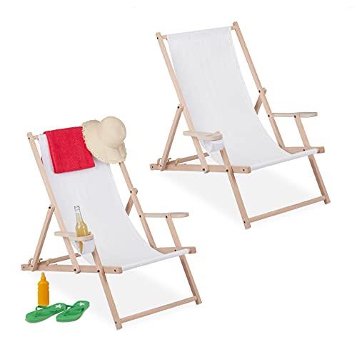 Relaxdays Liegestuhl Tumbona Plegable, Juego de 2, Madera y Tela, 3 Posiciones,...