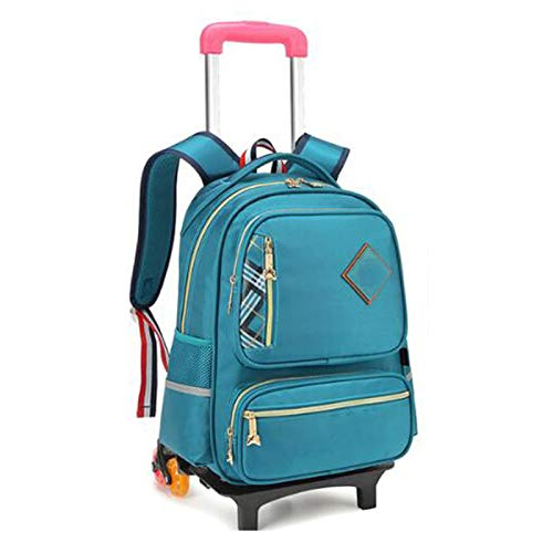YQY Wheeled Backpack Adorable Trolley School Bag Luggage on Wheels Kids Trolley Backpack Rolling School Backpack for Boys,C