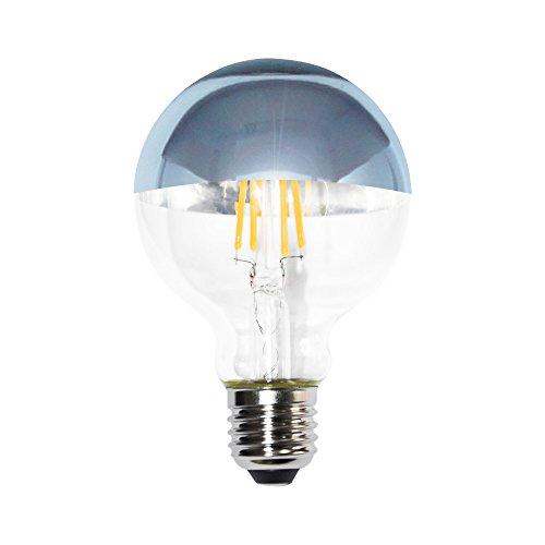 Lampadina LED a filamento Globe G80 4 W = 40 W, E27, testa a specchio argentato, 400 lm, extra bianco caldo, 2200 K, stile retrò.