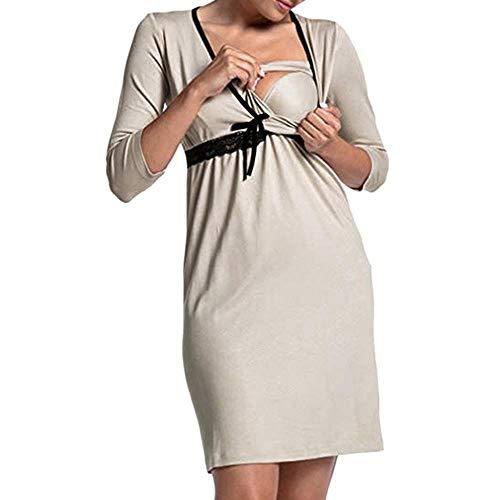 DFEBV Kleider Für Schwangere Mutterschaft Pyjama Frauen Schwangerschaft Langarm Die Taille Pyjama Kleid Umstandsmode Nachtwäsche-H_M