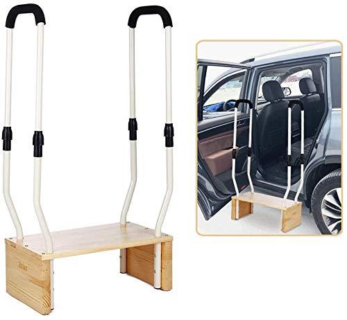 Taburete con asa para adultos mayores, taburetes de madera para camas altas, taburete de metal resistente, para mesilla de noche, coche, ayuda a pasamanos de cama, escalones para discapacitados 🔥