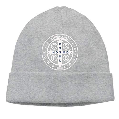Lawenp Medalla de San Benito Sombrero de invierno cálido neutro Gorro de punto Sombrero de urinario Sombrero de calavera