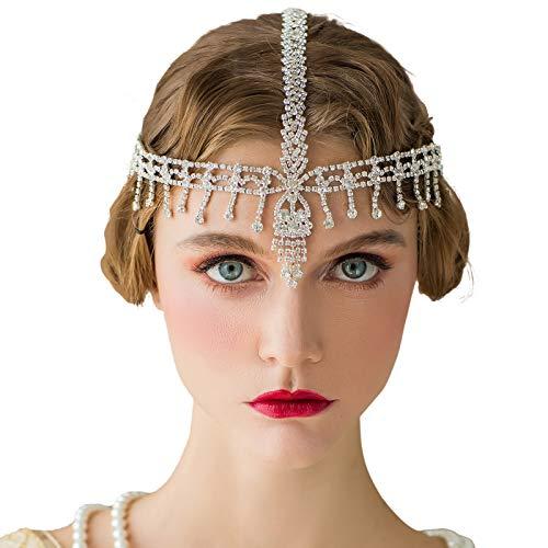 SWEETV Great Gatsby Headpiece Rhinestone 1920s Headband Flapper Hair Accessories for Costume Party Head Cap